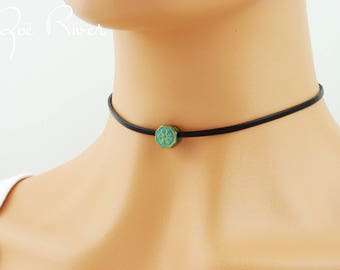Turquoise golden bronze choker necklace. Dainty turquoise beaded choker necklace. Vintage style verdigris bead. on black faux leather choker
