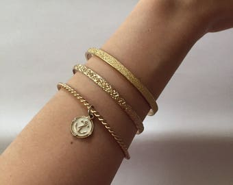 set of three golden bangle bracelets || nautical bracelets || anchor charm bangles