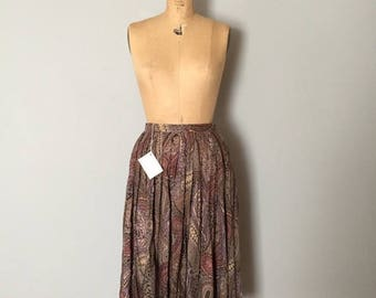 25% OFF SALE... SALE...70s paisley midi skirt | flouncy full skirt