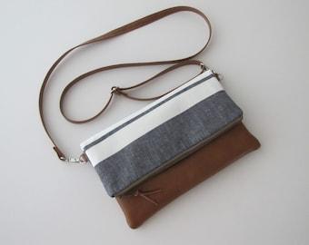 Fold Over Crossbody Bag, Coastal Stripe Crossbody Purse ,Vegan Crossbody Bag, Fold Over Clutch with Crossbody Strap, Mothers Day Gift
