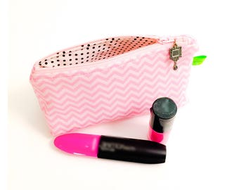 Chevron cosmetic makeup toiletries wash bag dopp kit gift card holder glasses case