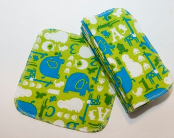 ABC Elephants Cloth Wipes - Baby Wipes - Flannel Bathroom Wipes- Eco Friendly Napkins - Reusable Wash Cloth - 2 Ply - 10 Count
