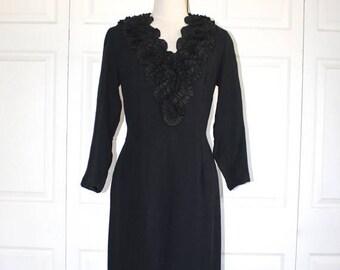 SALE 1950s Black Party Dress . Vintage 50s Slim Wiggle Evening Cocktail Dress with Curly Satin Trim . Size Medium Size 10 - 12