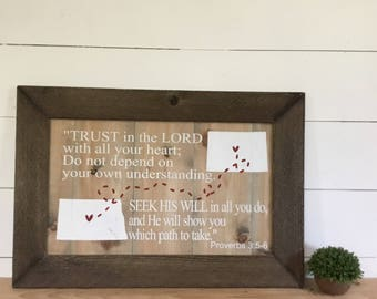 Moving Away Gift - Going Away Gift - Proverb 3:5-6 - Christian Home Decor - Religious Home Decor - State Sign - Destination Wedding