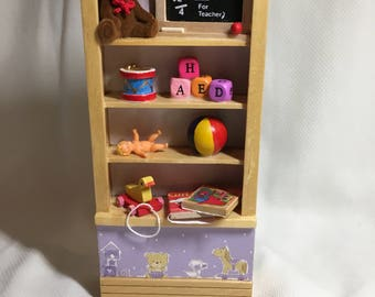 DOLLS House Miniatures - 1/12th Girls Toy Shelf - Teddy
