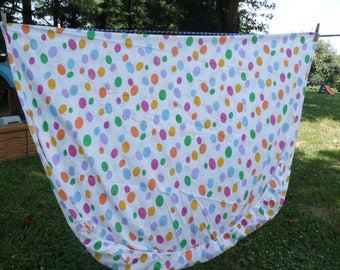 BARNEY fitted twin sheet vintage 1992 Lyons Grou with big polka dots in purple, orange, green, blue, yellow, pink for repurpose