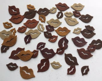 Wool Felt Lips Die Cuts - 50 total - Shades of Browns & Nudes *stock photo - Crochet Doll Lips - Dolls Lips - Arts and Crafts - Pre Cut