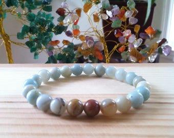 "Handmade Genuine Amazonite Bracelet, Natural Blue Amazonite Gemstone Stretch 7.25"" Bracelet,Calming, Improve Health, Protetction, Energy"