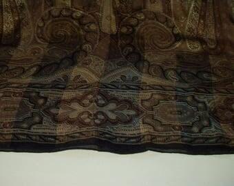 Vintage Long Scarf Echo Brown Paisley Print Silk Scarf Made in Japan  Retro Fashion Head Scarf Neck Purse Kerchief Scarf Accessory