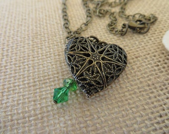 Aromatherapy Heart Locket Pendant With Green Crystals On Chain