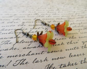 Orange And Green Lucite Flowers And Crystals Drop Earrings