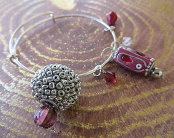 Adjustable Beaded Bangle Bracelet With Red And Silver Tones