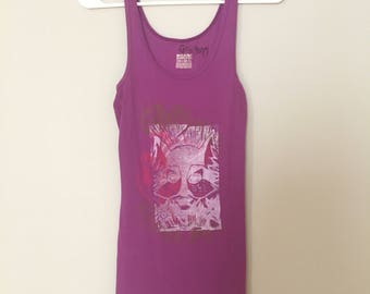 Wolf Pack, Purple Tank Top, Ribbed, Linoleum block print, hand printed, Large, fine art fashion