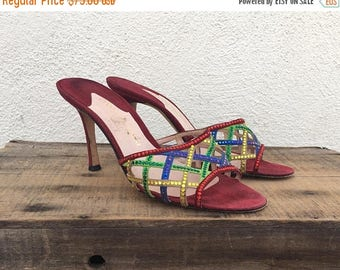 20% Off Sale 90s Rainbow Mules High Heels Swarovski Crystals Red Suede Slippers High Fashion Italian Woven Ladies Size 9.5