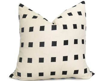 Chalet Pillow Cover - Kelly Wearstler Pillow - Ebony - Black and Ivory -  Squares Pillow - Black Pillow - Neutral Pillow - Decorative Pillow