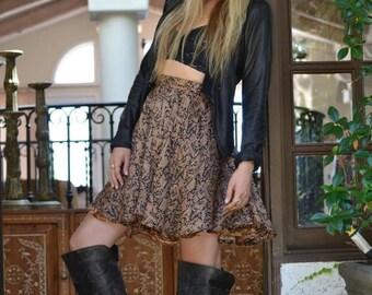35% OFF CALYPSO SKIRT /// Flow Skirt /// Vintage Saree Print  /// one of a kind /// Medium