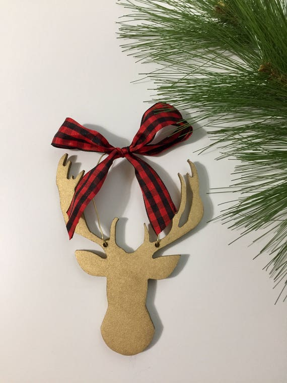 Hand painted, deer silhouette, christmas ornament,  Hand painted ornament, christmas ornament, deer ornament, woodland ornament