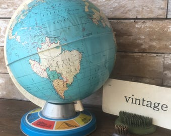 Vintage World Globe With World Sites Made In The USA  Rare Find J. Chein an Company
