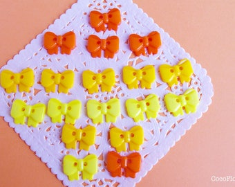18 Bow buttons, Orange Yellow ribbon bow button plastic - Scrapbooking, Sewing, Crafts, Knitting