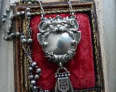 RESERVED/SOLD LISTING: Antique Victorian Gothic Bat Gargoyle & French Fob Rosary Necklace, by RusticGypsyCreations