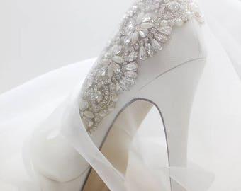Wedding Shoes - Bridal Shoes - Crystal Embellished Wedding Shoes - Crystals - Ivory Wedding Shoes - Custom Women's Wedding Shoes  High Heels