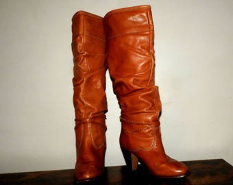 vintage size 8 80s slouch leather boots wild pair zodiac