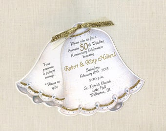 50 | 50th Wedding Anniversary | Party Invitations | Golden Anniversary | Wedding Bell Invitations | Personalized | Printed | 50 RSVP Cards