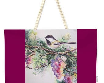 Weekender Tote Bag with Chickadee bird and Grapes- Extra Large  Bright Colors Purse Carryall Bag Mom Grandma Nature Birdwatching Gifts