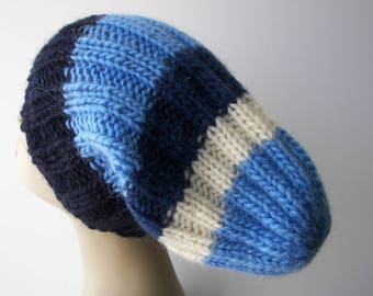 ICELANDIC LOPI WOOL Slouch Beanie Fold Up Color Block Hat in Blue White Navy / Lopi yarn Knit Slouch hat/ Ready to Ship