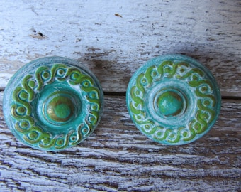 2 Brass Vintage Knobs Blue Green White Classical Traditional Cottage Style with Brass Distressed Drawer or Cabinet Knobs or Pulls B-8