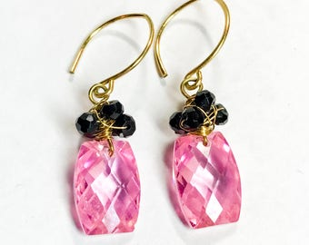 Be My Valentine Pink and Black Gemstone Earrings on Vermeil- Cubic Zironia Cushion Brios with Black Spinel Beads 14K Gold Filled