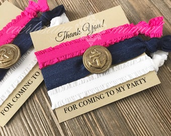 Nautical Party Favors -Nautical Thank you gift - birthday party favor -  hair tie favor -  elastic hair tie favors