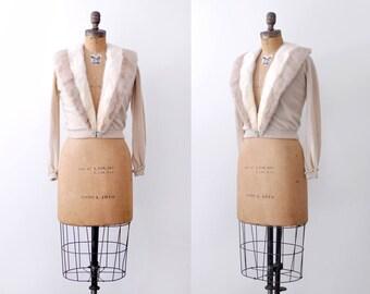 1950 mink cardigan. cashmere. 50's fur trim sweater. m. s. tan cardigan.