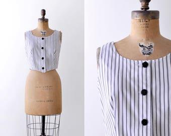 1950 striped crop top. 50's tank top. Black & white. Cotton blouse. small.