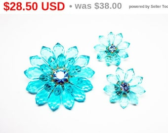 Turquoise Lucite Flower Brooch & Clip Earring Set Signed Western Germany Transparent Beads / Rhinestone Floral Demi Parure - European 1960s