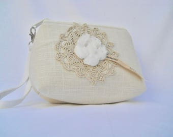 Vintage crochet with white roses on Linen Wristlet with detachable strap
