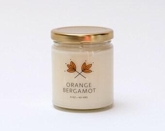 Orange Bergamot Soy Candle Jar - 9 oz - all natural, eco-friendly 100% soy wax candle
