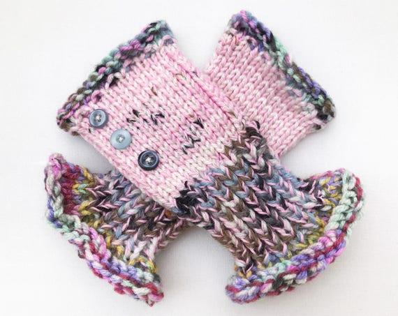 Fingerless Glove - Cupcake Frilly Fingers - Pink Fingerless Hand Warmer Mittens - Pink Fingerless Mittens for women. Long frilly gloves