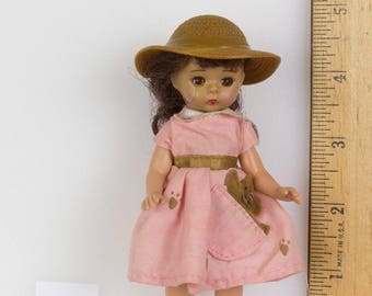 Madame Alexander mini doll 5 inches Pink dress, wide brim brown hat