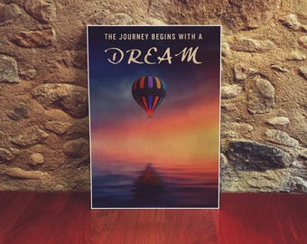 Hot Air Balloon Poster 12x18 Size Dreams Nursery Art Childs Room Art Inspirational Posters