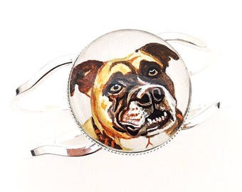 Custom Dog Bracelet- Pet Bracelet- Custom Dog Portrait- Dog Memorial Gift- Pitbull Jewelry- Pet Memorial Bracelet- Dog Memorial Jewelry