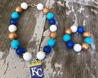 Kansas City Royals Jewelry- KC Royals Necklace - Royals Necklace Set- Base ball Birthday - Roals Necklace - Kansas City Royals Necklace -