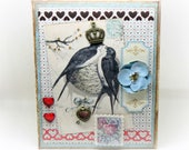 Valentine's Day Card - Love Birds - Bird Card - Shabby Chic - Vintage Style Handmade Valentine Card