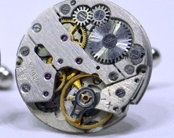 Round Industrial Watch Movement Cufflinks with genuine Swiss made watch movements 89