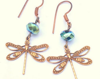 Summer Sale, Steampunk Dragonfly Earrings, Pink Copper, Antiqued  Dragonfly Earrings, Multi-Color Swarovski Crystal Beads, Golden Blue/Green