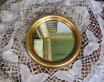 Vtg Italian Florentine Gold Tone Round Wall Mirror, Mod Depose, Made in Italy