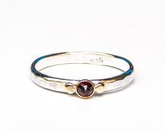 Garnet ring, Gemestone Engagement Ring - 14k gold ring ,silver ring ,Anniversary ring,Gift for her, Mom gift, garnet stone, MADE TO ORDER