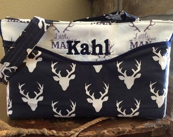 Hand Made Little Man Deer Head Silhou Baby Boy Navy Blue Minky Diaper Bag High Quality very Beautiful made in USA
