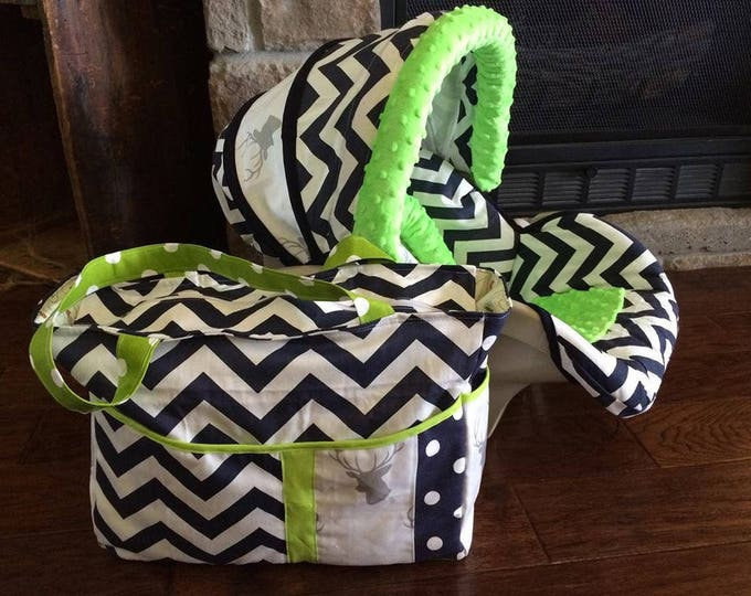 Featured listing image: Bundle Beautiful Soft Comfortable Baby Boy Car Seat Cover Diaper Bag lime green minky Navy Chevron Gray Deer Head Silhouett white background