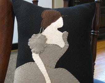 Primitive Design Victorian Woman Wool Applique Pillow Simple and Lovely Handmade